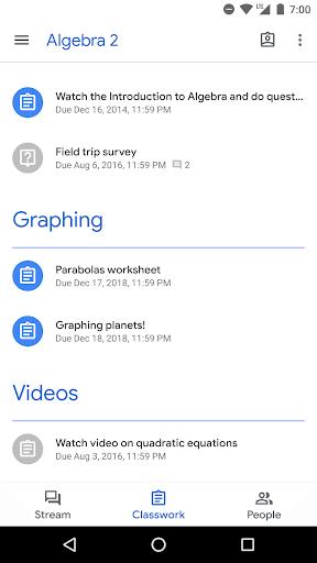 Google Classroom screenshot 2