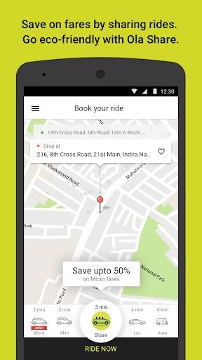 Ola cabs screenshot 2